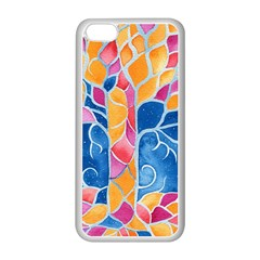 Yellow Blue Pink Abstract  Apple iPhone 5C Seamless Case (White)