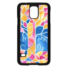 Yellow Blue Pink Abstract  Samsung Galaxy S5 Case (black)