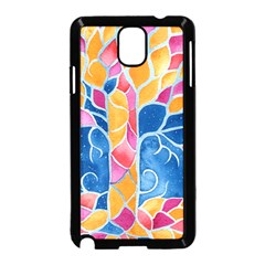 Yellow Blue Pink Abstract  Samsung Galaxy Note 3 Neo Hardshell Case (Black)
