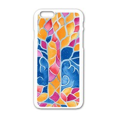 Yellow Blue Pink Abstract  Apple iPhone 6 White Enamel Case