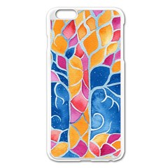 Yellow Blue Pink Abstract  Apple iPhone 6 Plus Enamel White Case