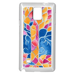 Yellow Blue Pink Abstract  Samsung Galaxy Note 4 Case (White)
