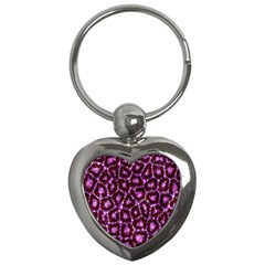 Cheetah Bling Abstract Pattern  Key Chain (heart)