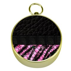 Pink Tiger Bling Gold Compass