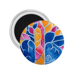 Yellow Blue Pink Abstract  2 25  Button Magnet