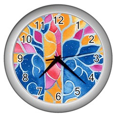 Yellow Blue Pink Abstract  Wall Clock (silver)