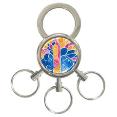 Yellow Blue Pink Abstract  3 Ring Key Chain
