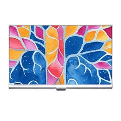 Yellow Blue Pink Abstract  Business Card Holder