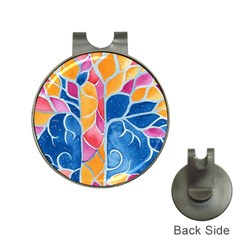 Yellow Blue Pink Abstract  Hat Clip With Golf Ball Marker