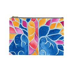 Yellow Blue Pink Abstract  Cosmetic Bag (large)