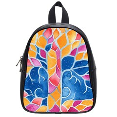 Yellow Blue Pink Abstract  School Bag (small)