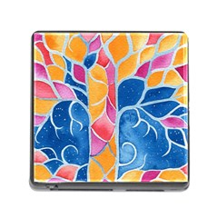 Yellow Blue Pink Abstract  Memory Card Reader With Storage (square)