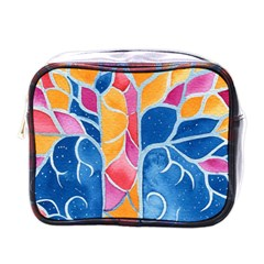 Yellow Blue Pink Abstract  Mini Travel Toiletry Bag (one Side)