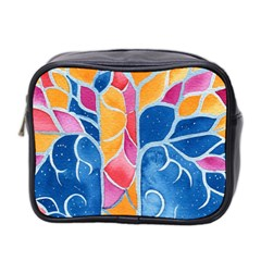 Yellow Blue Pink Abstract  Mini Travel Toiletry Bag (two Sides)
