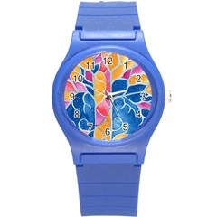 Yellow Blue Pink Abstract  Plastic Sport Watch (small)