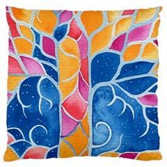 Yellow Blue Pink Abstract  Large Cushion Case (two Sided)