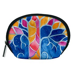 Yellow Blue Pink Abstract  Accessory Pouch (Medium)