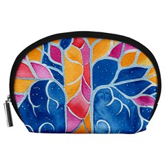 Yellow Blue Pink Abstract  Accessory Pouch (large)