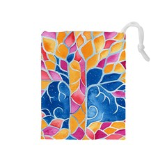 Yellow Blue Pink Abstract  Drawstring Pouch (medium)