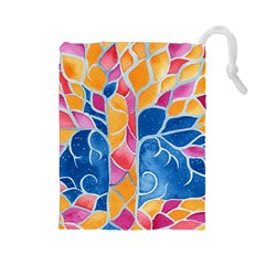 Yellow Blue Pink Abstract  Drawstring Pouch (Large)