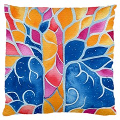 Yellow Blue Pink Abstract  Large Flano Cushion Case (two Sides)