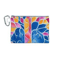 Yellow Blue Pink Abstract  Canvas Cosmetic Bag (Medium)