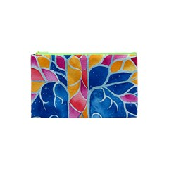 Yellow Blue Pink Abstract  Cosmetic Bag (XS)