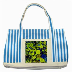 Polka Dot Retro Pattern Blue Striped Tote Bag