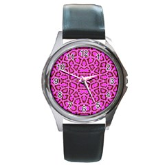 Florescent Pink Animal Print  Round Leather Watch (silver Rim)