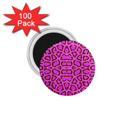 Florescent Pink Animal Print  1 75  Button Magnet (100 Pack)