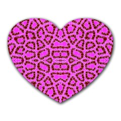 Florescent Pink Animal Print  Mouse Pad (heart)