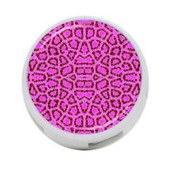 Florescent Pink Animal Print  4 Port Usb Hub (two Sides)