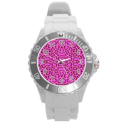 Florescent Pink Animal Print  Plastic Sport Watch (large)