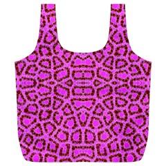Florescent Pink Animal Print  Reusable Bag (xl)