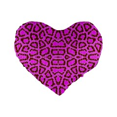 Florescent Pink Animal Print  Standard 16  Premium Flano Heart Shape Cushion