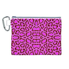 Florescent Pink Animal Print  Canvas Cosmetic Bag (Large)