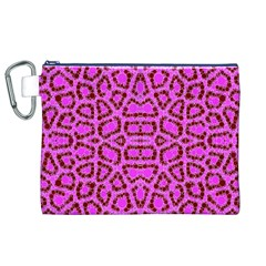 Florescent Pink Animal Print  Canvas Cosmetic Bag (XL)