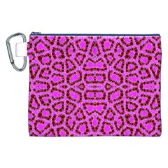 Florescent Pink Animal Print  Canvas Cosmetic Bag (XXL)
