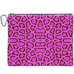 Florescent Pink Animal Print  Canvas Cosmetic Bag (XXXL)