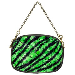 Florescent Green Tiger Bling Pattern  Chain Purse (one Side)