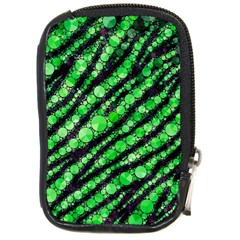 Florescent Green Tiger Bling Pattern  Compact Camera Leather Case