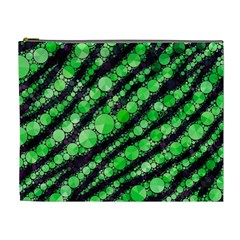 Florescent Green Tiger Bling Pattern  Cosmetic Bag (xl)