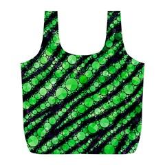 Florescent Green Tiger Bling Pattern  Reusable Bag (L)