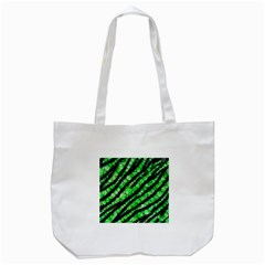 Florescent Green Tiger Bling Pattern  Tote Bag (White)