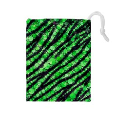 Florescent Green Tiger Bling Pattern  Drawstring Pouch (Large)