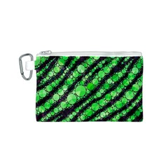 Florescent Green Tiger Bling Pattern  Canvas Cosmetic Bag (small)