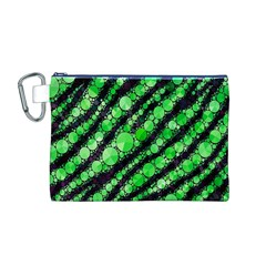 Florescent Green Tiger Bling Pattern  Canvas Cosmetic Bag (Medium)