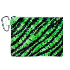 Florescent Green Tiger Bling Pattern  Canvas Cosmetic Bag (XL)