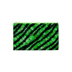 Florescent Green Tiger Bling Pattern  Cosmetic Bag (xs)