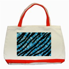 Bright Blue Tiger Bling Pattern  Classic Tote Bag (Red)